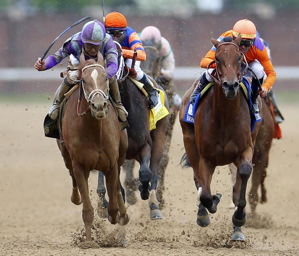 A sizzling stretch run gave Princess of Sylmar (left) the victory in the Kentucky Oaks.