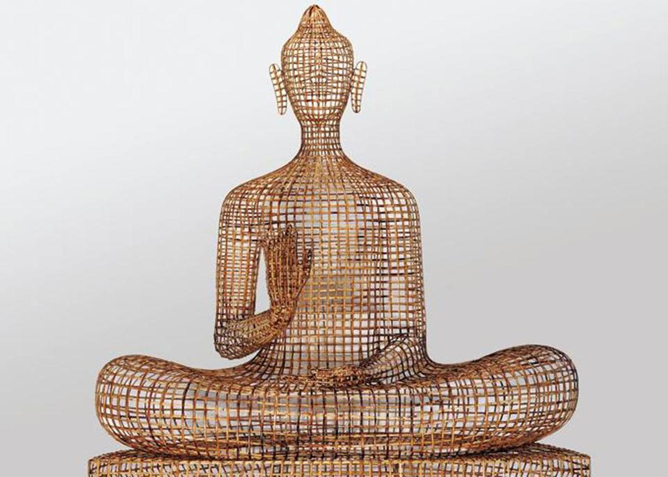 """Seated Buddha — Abhaya Mudra,'' 2012. Bamboo, rattan, wire, plywood by Sopheap Pich, Cambodian, born 1971."