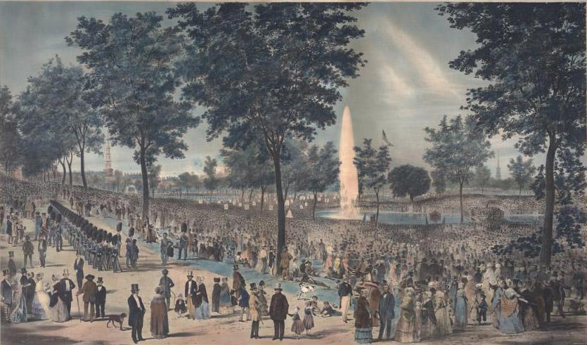 View of the water celebration on Boston Common October 25th 1848.