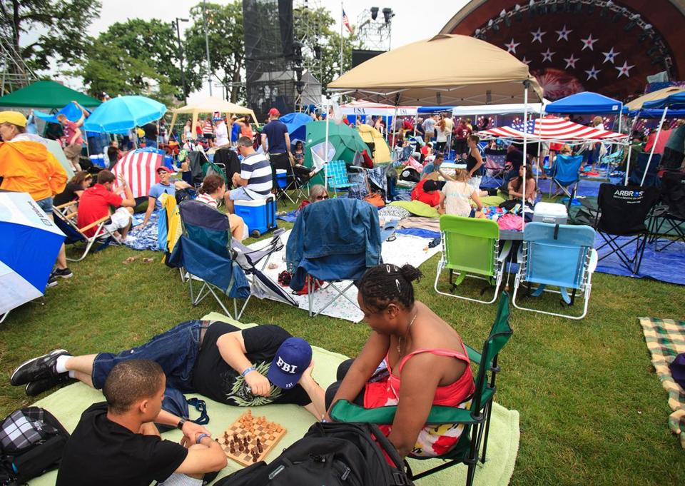 Fans arrived early to get a prime spot on the Esplanade on the Fourth of July last year.