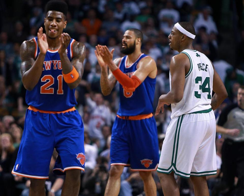 The Knicks' Iman Shumpert (21) was a handful on offense and defense all game for Paul Pierce (right) and the Celtics.