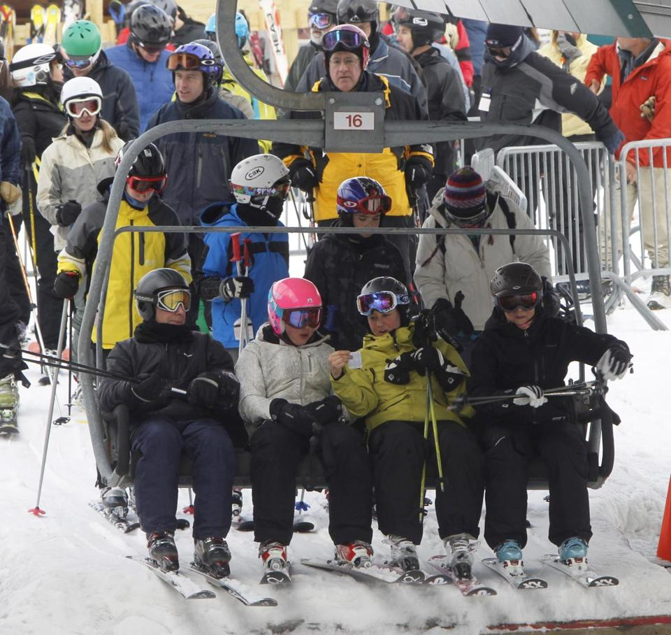 The lifts were crowded at Sugarbush in Warren, Vt., on Feb. 14.