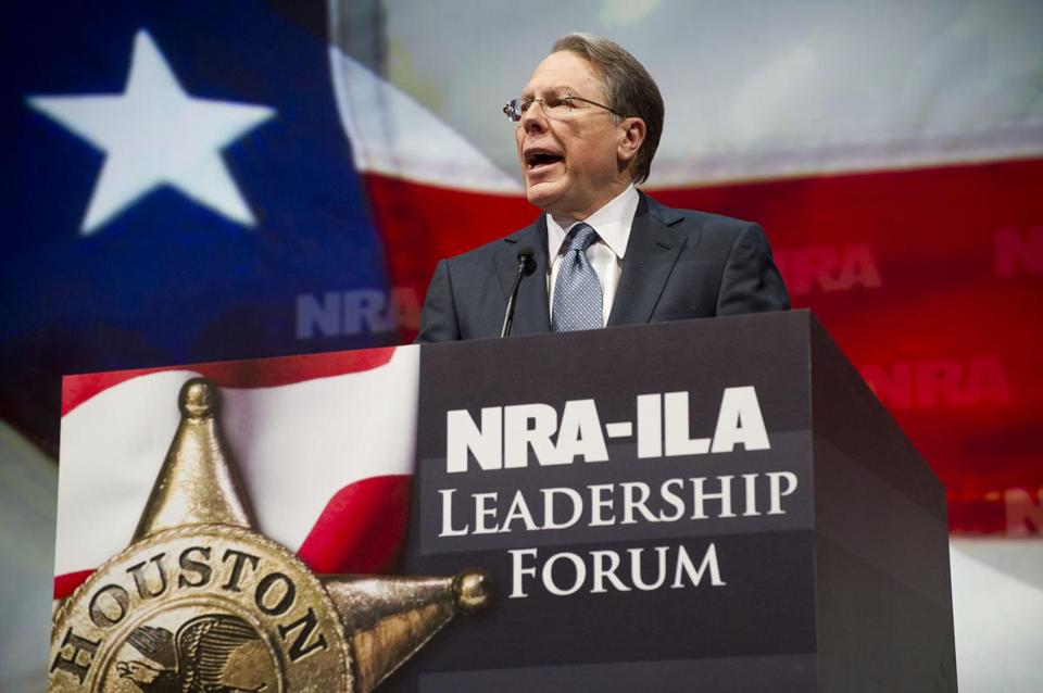 NRA Executive Vice President and Chief Executive Officer Wayne LaPierre spoke during the leadership forum at the group's annual meeting on Friday.