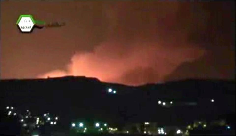 Fire filled the sky over Damascus early Sunday in this video, which has been authenticated by Associated Press.