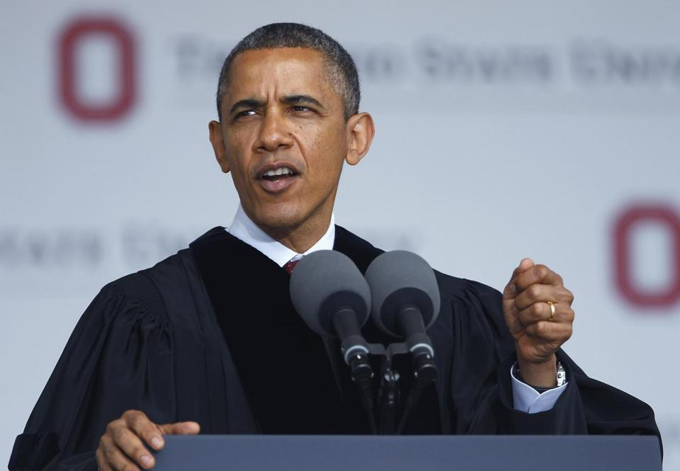 President Obama gave the commencement address to the graduating class at Ohio State University in Columbus.
