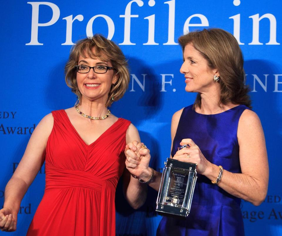 Gabrielle Giffords, who left Congress to focus on her recovery after being shot in the head, was honored with the John F. Kennedy Profile in Courage Award Sunday in Boston by Caroline Kennedy .