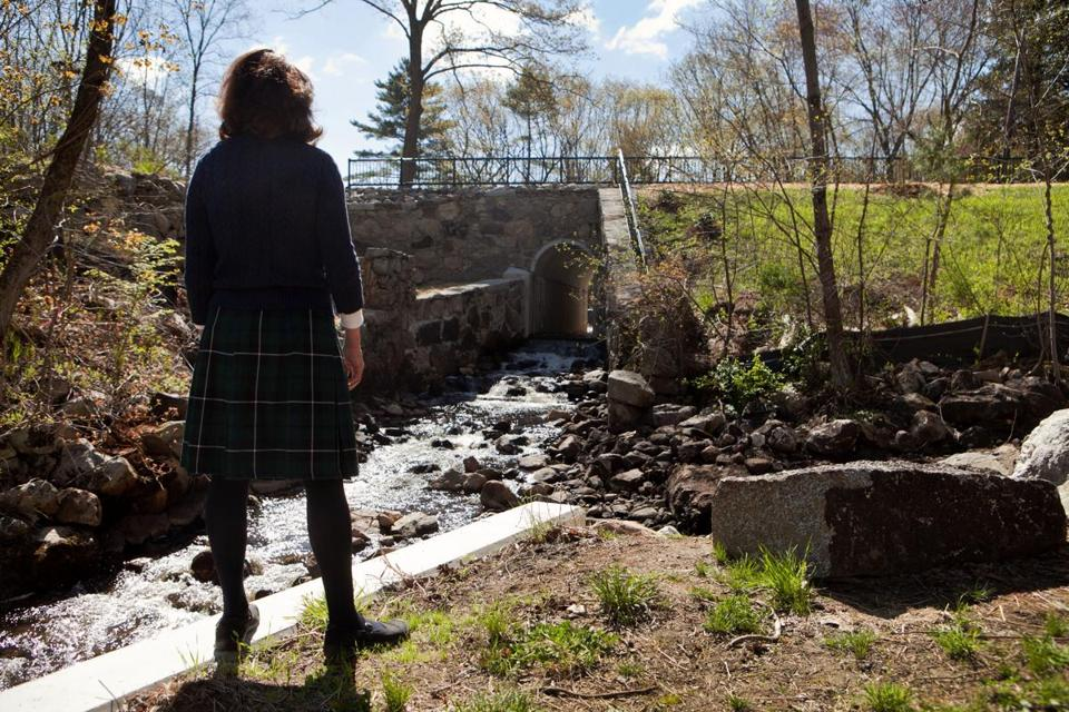 Janice Weichman stopped to enjoy the view at the site of the old Wilson Mill as the committee toured the new park