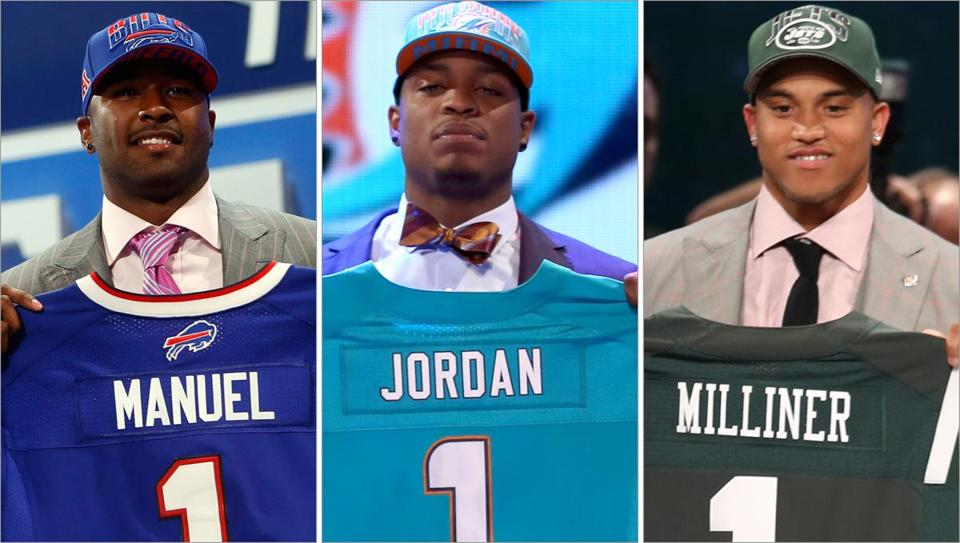 The tops picks for the Bills (E.J. Manuel, left), Dolphins (Dion Jordan, center), and Jets (Dee Milliner) could bring their teams a step closer to the perennial division champion Patriots.
