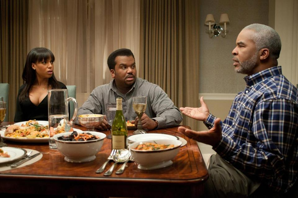 "From left: Kerry Washington, Craig Robinson, and David Alan Grier in the comedy ""Peeples."""