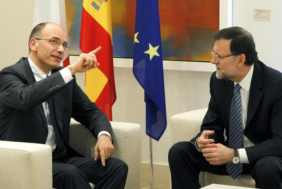 Prime Minister Enrico Letta of Italy (left) met with Spain's prime minister, Mariano Rajoy, in Madrid Monday.