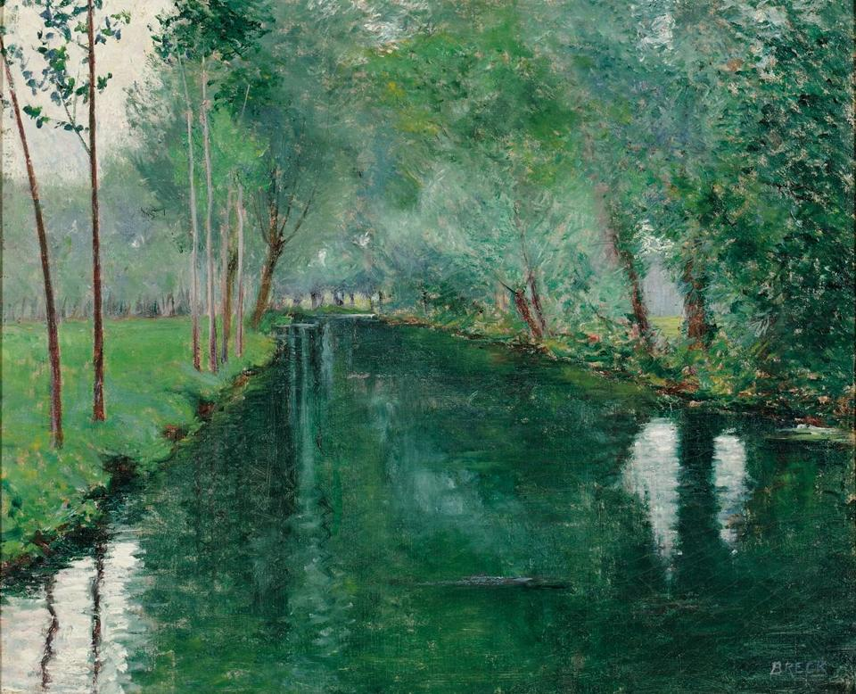 "Clockwise from above left: ""The River Epte, Giverny,"" painted in 1887 by Boston artist John Leslie Breck while living in the rural French village made famous by the impressionist Claude Monet, will be offered with a $100,000-$150,000 estimate at Skinner's auction of American and European paintings. Jackson Pollock's 1946 ""The Blue Unconscious,"" embodying his quest to integrate imagery with abstraction, is expected to bring between $20 million- $30 million at Sotheby's Contemporary Art sale Tuesday. Edward Hopper's 1928 view of Blackwell's Island, in New York's East River, will be offered with an estimate of $15 million-$20 million at Christie's May 23 American Art Auction. ""Ships at Anchor, Men-of-War,"" by Peter Monamy (1689-1749), the first English-born and trained marine artist, will be offered at the Skinner auction with a $30,000-$50,000 estimate."