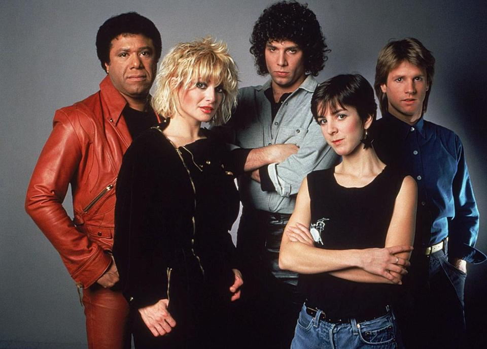 MTV's original VJs (from left, in an undated photo): J.J. Jackson, Nina Blackwood, Mark Goodman, Martha Quinn, and Alan Hunter. The four survivors (Jackson died in 2004) have written a book with Gavin Edwards.