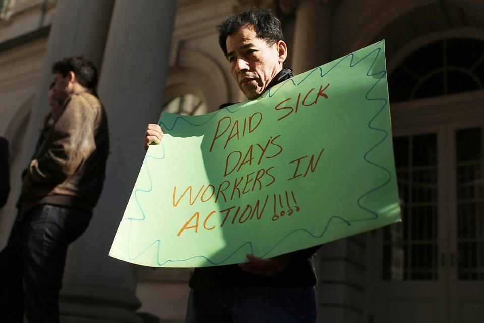 A bill would force New York businesses with 20 workers to offer five paid sick days a year.