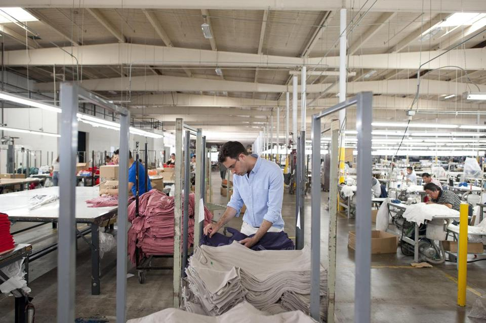 Where clothing is made matters to consumers, says Michael Preysman, CEO of Everlane, shown in a Vernon, Calif., plant.