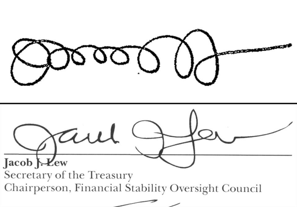 On top: the signature of Treasury Secretary Jacob Lew from 2011; below: his signature on a 2013 report.