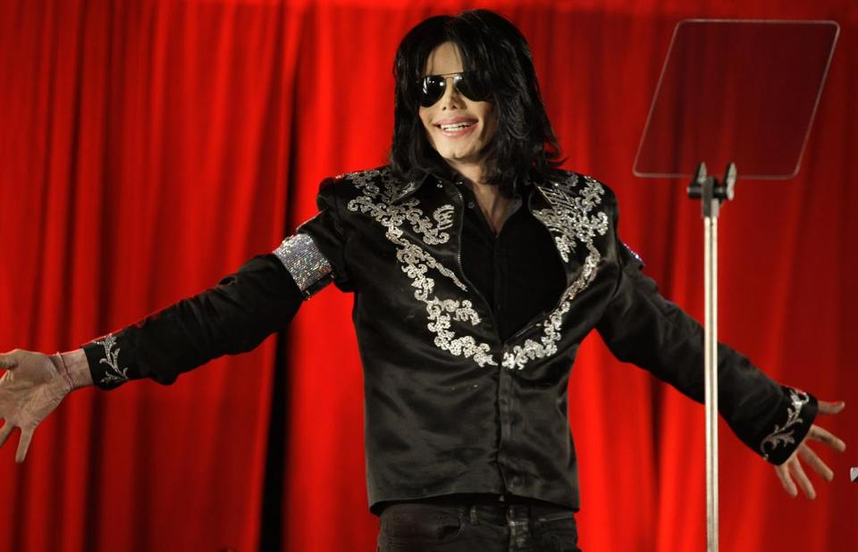 Michael Jackson in London in March 2009, announcing a planned series of concerts. Jackson died of a drug overdose that June.