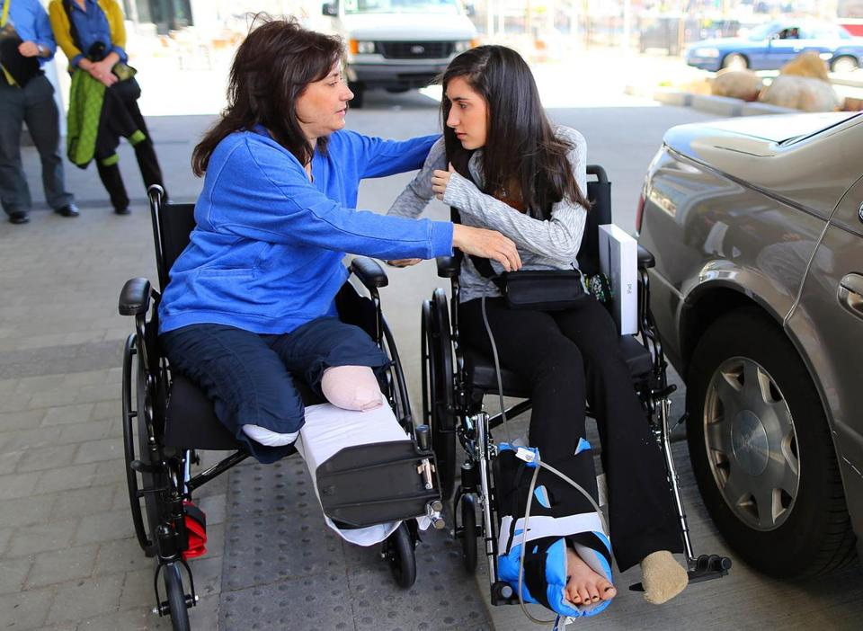 Celeste Corcoran (left) with her daughter Sydney last week after Sydney was discharged from the hospital.