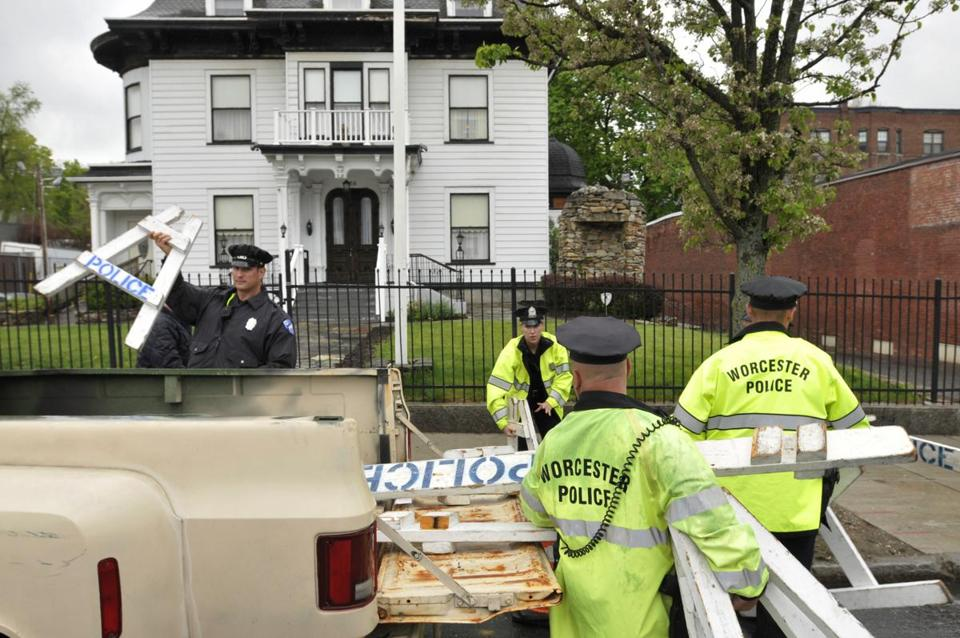 Worcester police removed barricades from in front of the Graham Putnam & Mahoney funeral home in Worcester.
