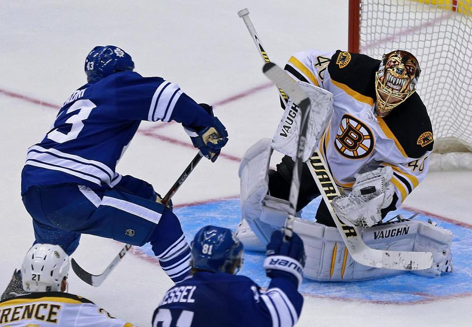 Bruins goalie Tuukka Rask stopped all 11 shots from the Maple Leafs in overtime, including this point-blank bid from Nazem Kadri.