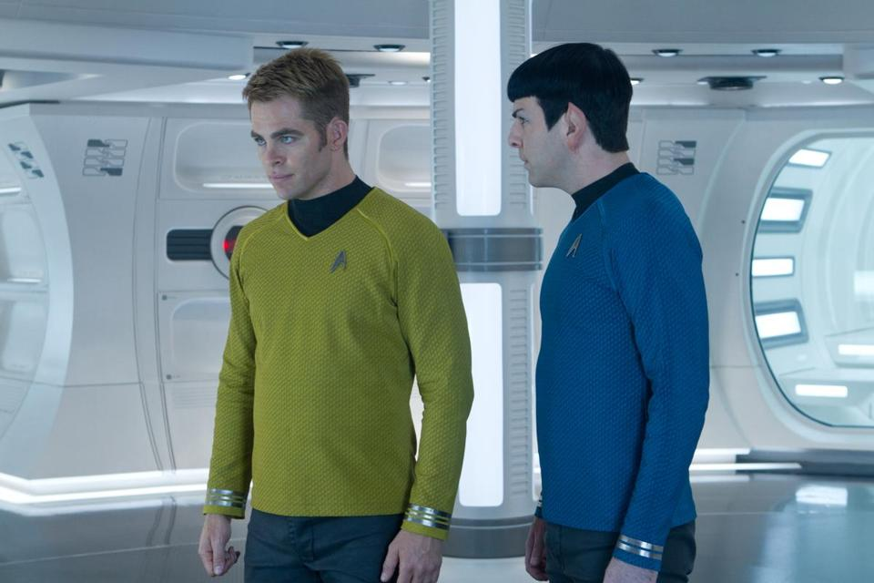 "Chris Pine as Captain Kirk (left) and Zachary Quinto as Spock in ""Star Trek Into Darkness."""