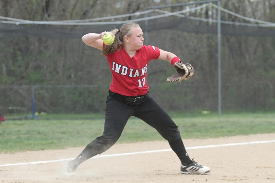 Amesbury High catcher Cassie Schultz throws to second base during pregame warm-ups.