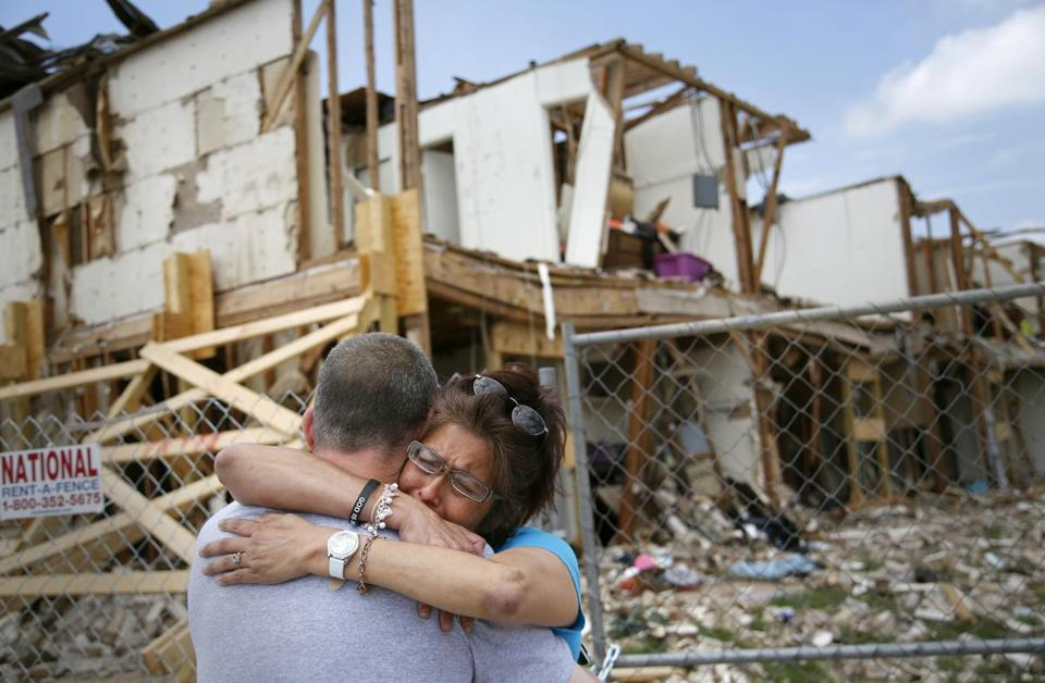Shona Jupe was comforted Friday as she visited the West, Texas, building where she had lived.