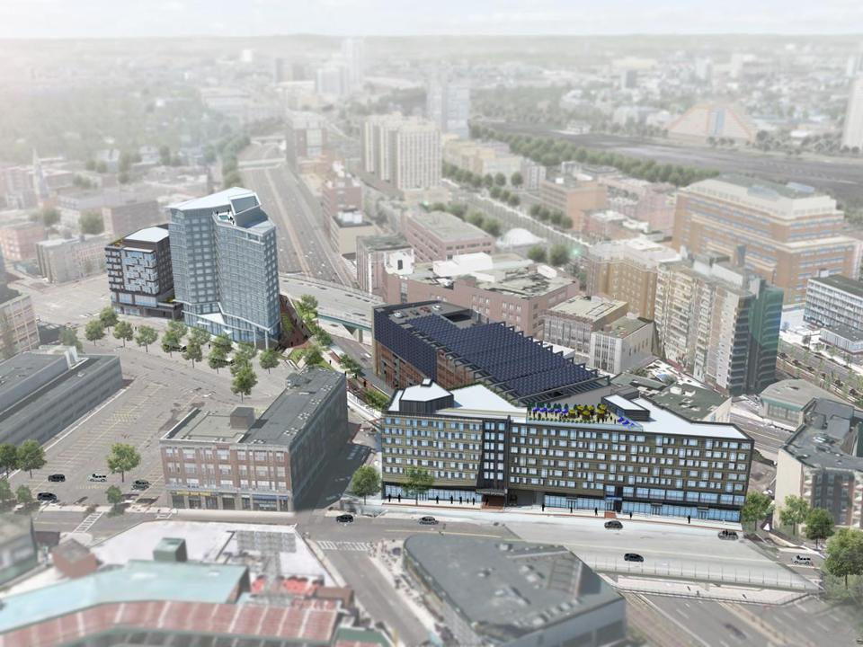 A westside view of the $500 million, mixed-use Fenway Center development.