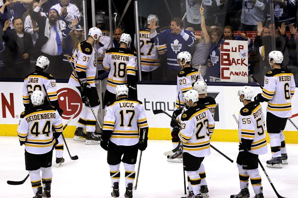 Leafs fans weren't about to hide their excitement as they watched a pack of dejected Bruins file into the locker room.