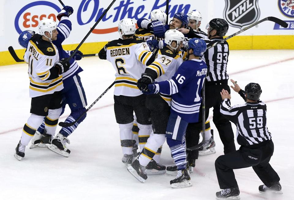 The Maple Leafs were determined to force a Game 7, something made evident by this first-period scrum.