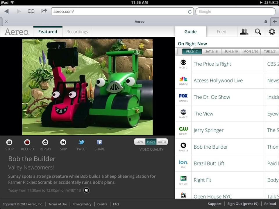 "An image provided by Aereo shows a screenshot from the iPad showing Aereo.com streaming ""Bob the Builder."""