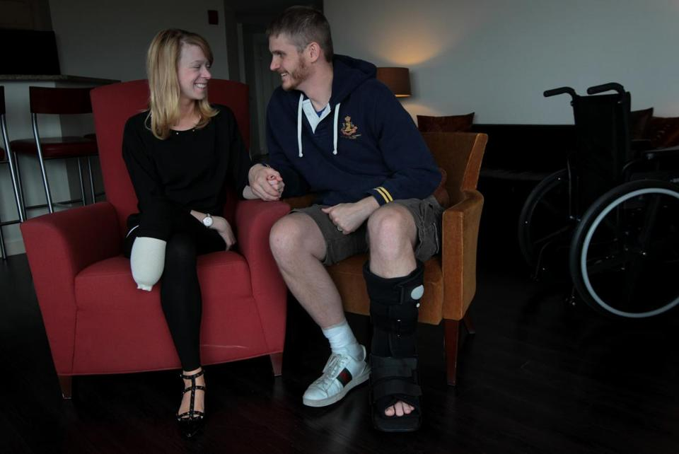 Adrianne Haslet, a dance instructor, and her husband Adam Davis, an Air Force captain, were both injured in the Marathon bombings.