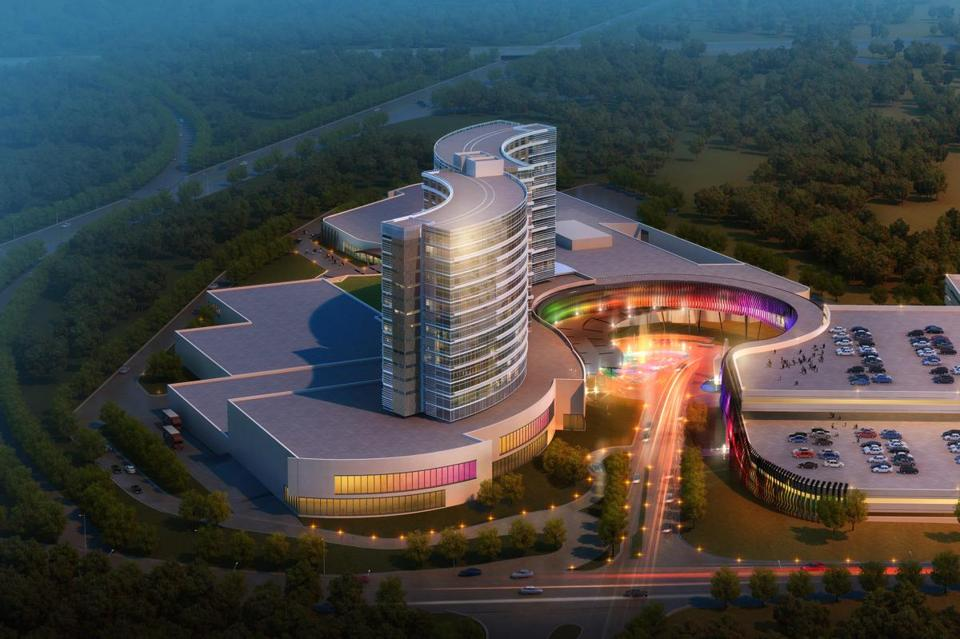This rendering shows a new design for a resort casino that the Mashpee Wampanoag tribe hopes to build in Taunton.