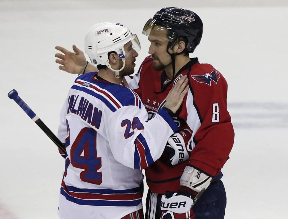 The Rangers' Ryan Callahan consoles the Capitals' Alex Ovechkin following Game 7.