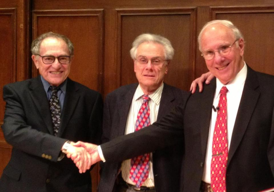 From left: Alan Dershowitz, Jeffrey Lyons, and Larry Ruttman at the 92nd Street Y in New York.