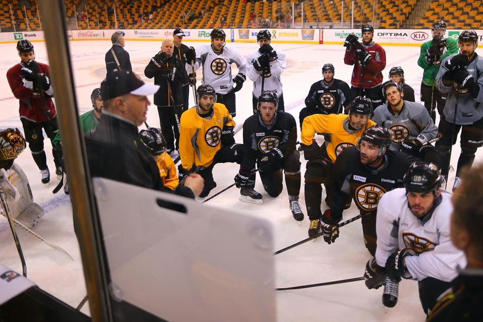 Claude Julien addressed his team during Wednesday's practice.