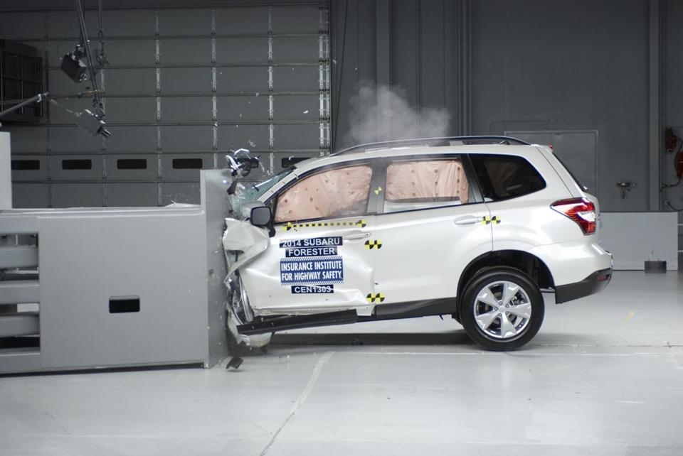 The Insurance Institute for Highway Safety's front-end crash test found that the 2014 Subaru Forester withstood the impact the best of the 13 vehicles assessed.