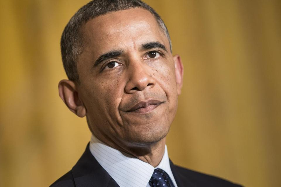 President Obama paused while making a statement Wednesday at the White House about the IRS scandal.