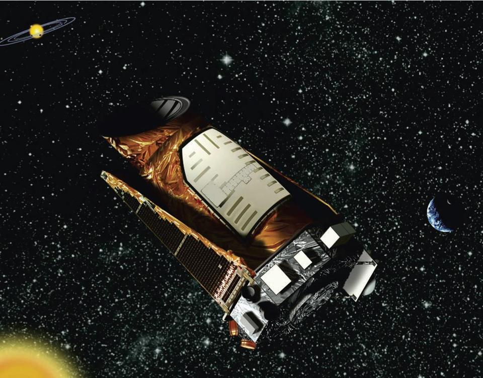 This file artist's rendering shows the Kepler space telescope, which has found more than 100 planets.