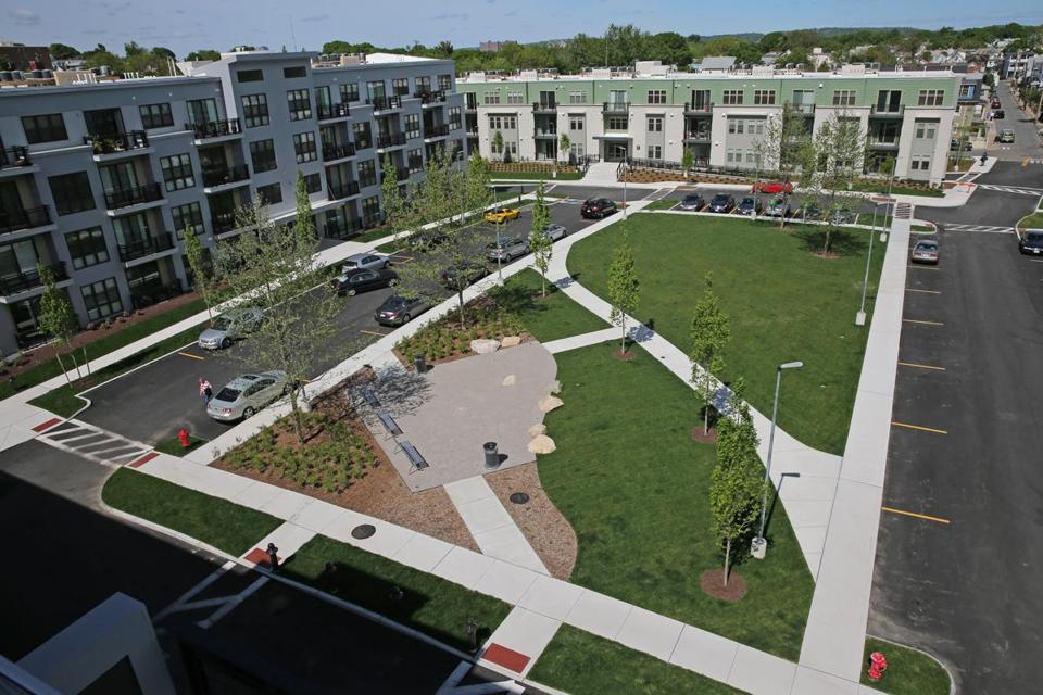 At Maxwell's Green, a newly completed development in Somerville that is near the Red Line, developers asked city officials to reduce the number of required parking spaces.