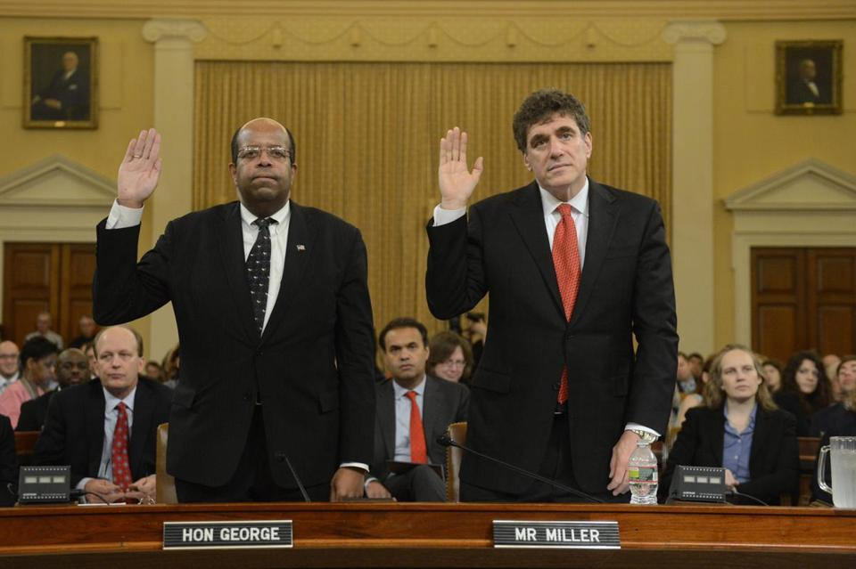 Inspector General for Tax Administration J. Russell George (left) and Steve Miller, the former IRS commissioner, testified before Congress on Friday.