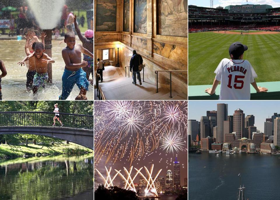 Clockwise from top left: Cooling off at the fountain on Boston Common, the staircase of the Copley library, Fenway Park, the Esplanade, the Fourth of July celebration, the Boston skyline.