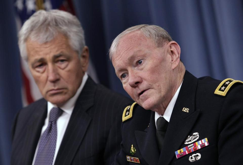 Defense Secretary Chuck Hagel (left) and Joint Chiefs of Staff  chairman  Martin Dempsey spoke to reporters Friday.