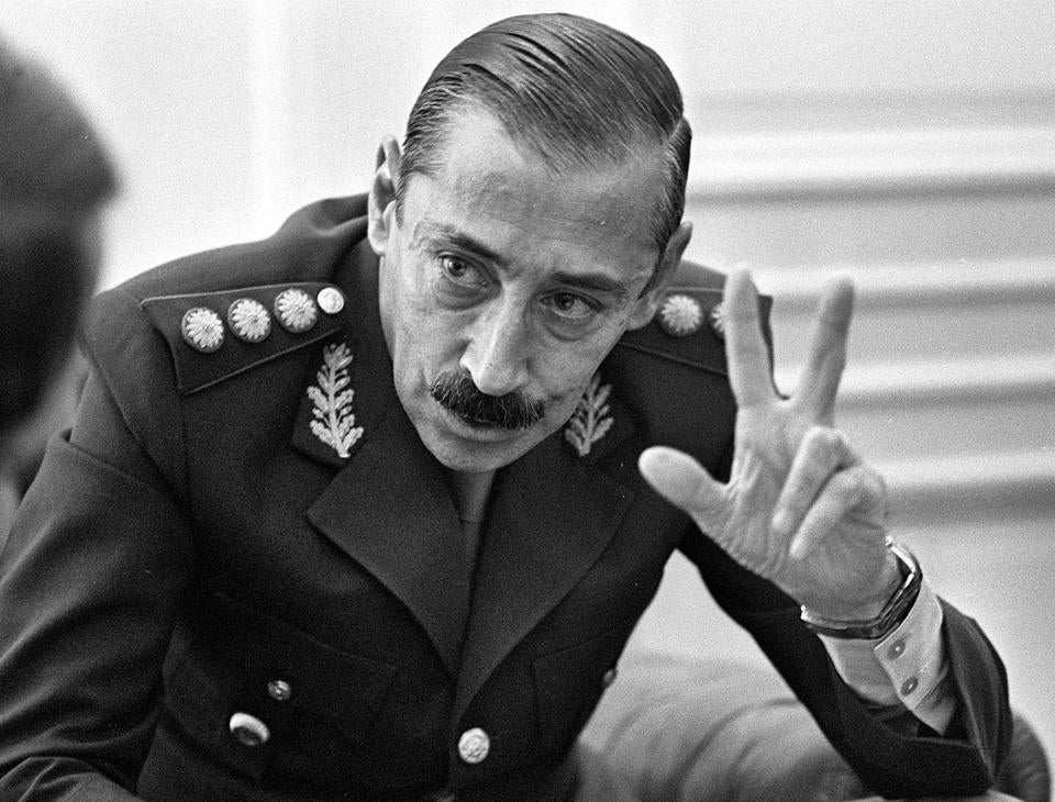 General Jorge Rafael Videla met with journalists at the Government Palace in Buenos Aires in 1978.