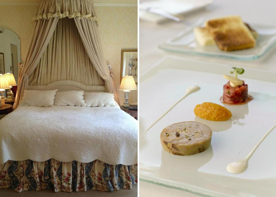 The bedroom at Blantyre (left) and the appetizer of grilled foie gras at Wheatleigh.