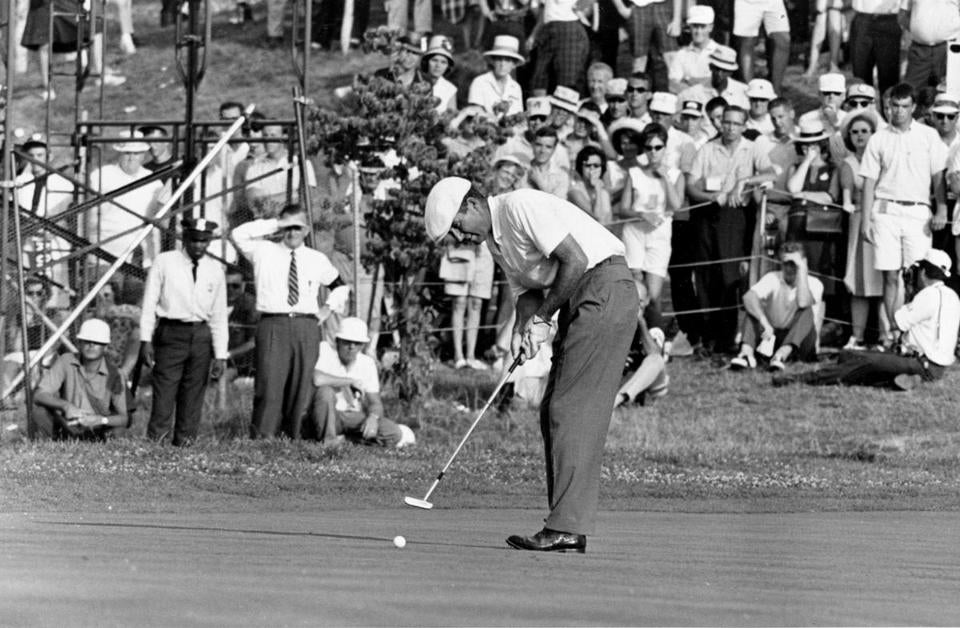 Ken Venturi made the final putt on the 18th green during the US Open Golf Championship at Congressional Country Club in Bethesda, Md., on June 20, 1964.