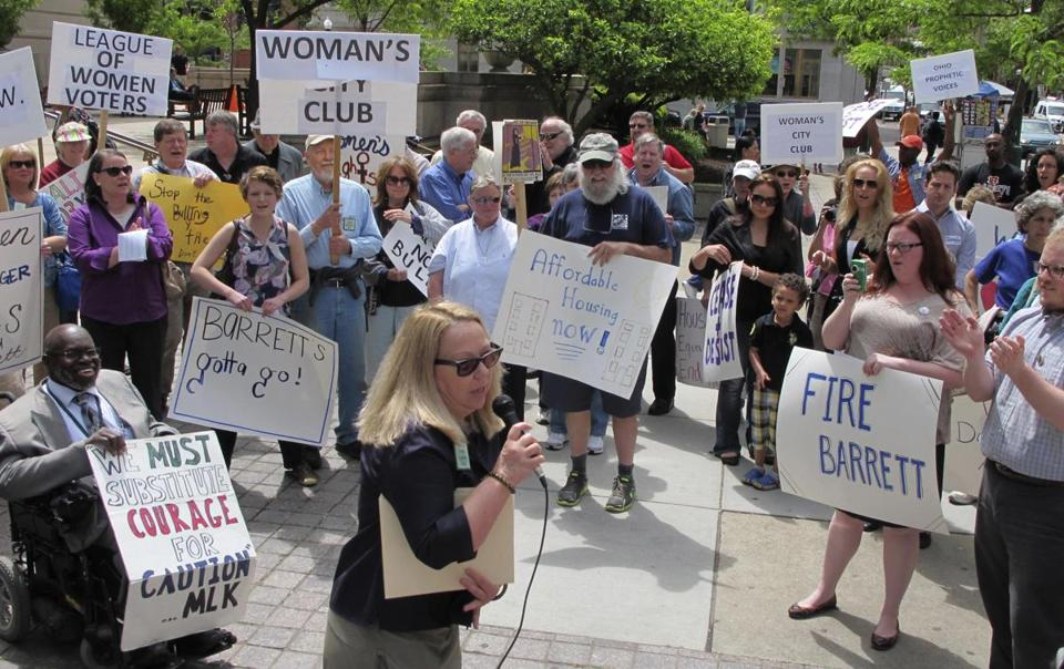 Demonstrators rallied on May 8 against the acquisition of Anna Louise Inn by Western & Southern Financial Group.