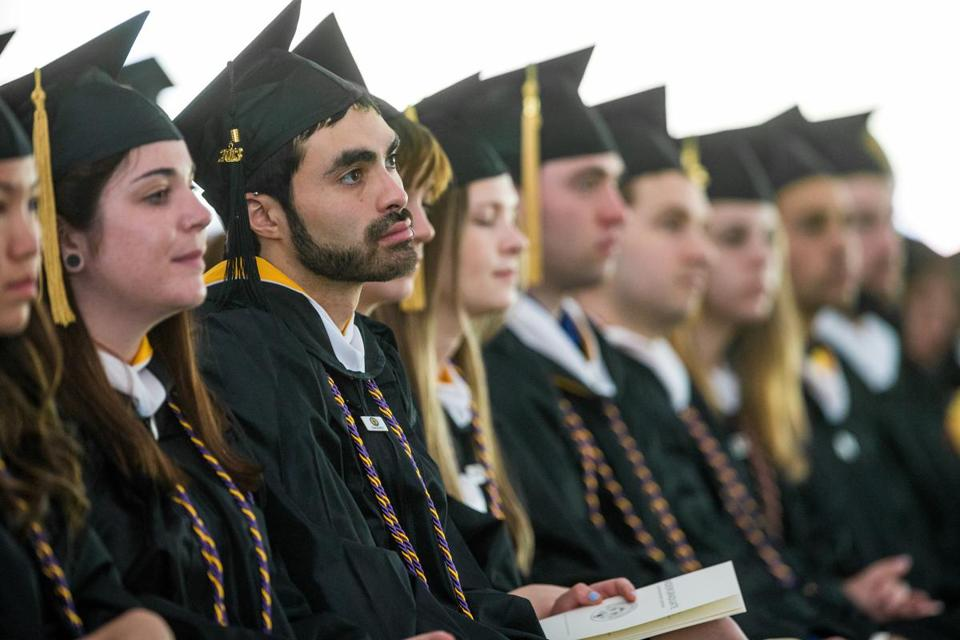 Graduates at Framingham State University's commencement ceremony on Sunday.