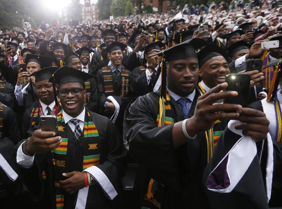 Graduating students at Morehouse College photographed President Obama at commencement ceremonies Sunday.