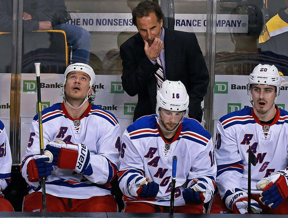 The Rangers and coach John Tortorella are down, 2-0, to the Bruins in their playoff series.