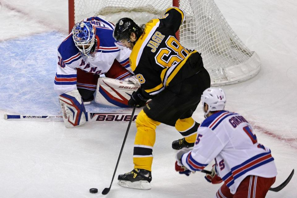 Jaromir Jagr sputtered in Game 1 vs. the Rangers, but had the puck in front of Henrik Lundqvist here.
